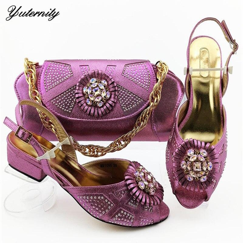 Dernières jolies chaussures européennes et sac assorti mis nigérian Applique avec PU talons bas 3.6CM chaussures et sac ensemble pour femme robe