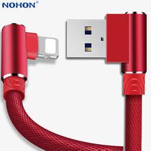 90 stopni kabel USB ładowarka przewód danych dla iPhone 6 S 6 S 7 8 Plus 5 5S X XR 11 Pro Max iPad mini air telefon komórkowy i 5C 5SE SE 2020 11pro pochodzenie szybkie ładowanie długi 1m 2m 3m tanie tanio Nohon LIGHTNING 2 4A HK (pochodzenie) NYLON USB A Złącze ze stopu Black Dark blue White Red Gray 100 Brand New High Quality