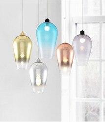 Ze stopniową zmianą szkło kolorowe żyrandol postmodernistyczne przytulna sypialnia restauracja europa północna salon lampy i latarnie w Wiszące lampki od Lampy i oświetlenie na
