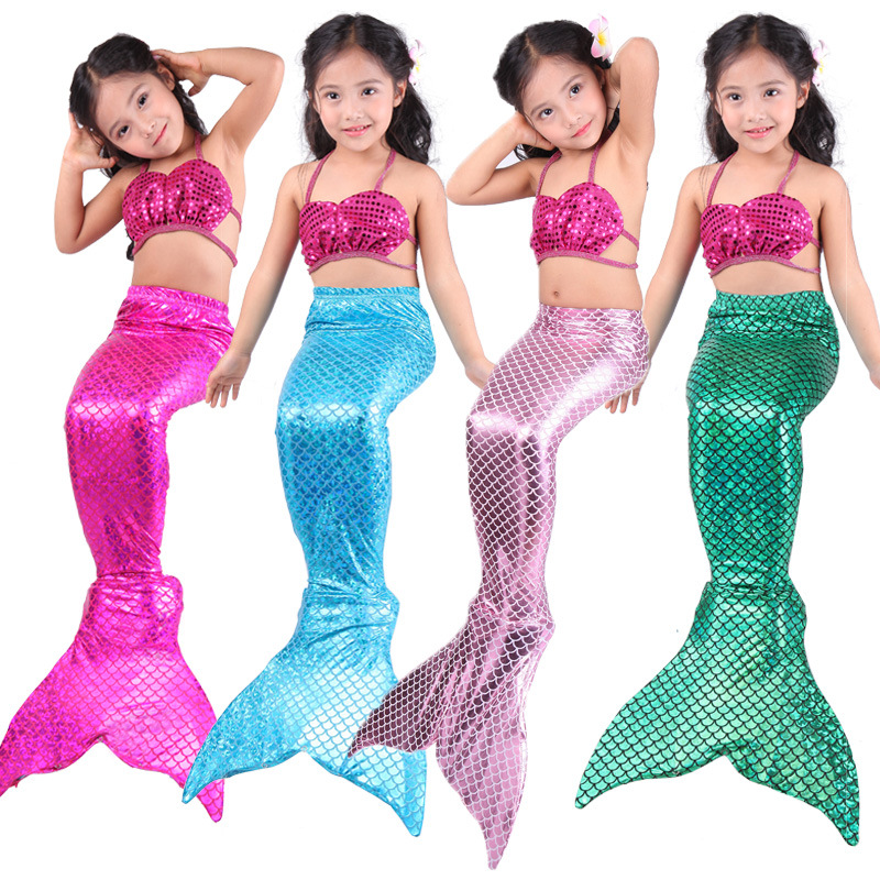 Little Mermaid Women's Children Mermaid Swimsuit Bikini People Fish Tail Hot Selling Compatible Swim Fins