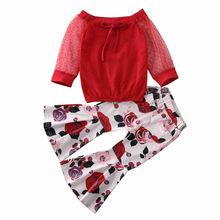 От 2 до 7 лет комплекты одежды для маленьких девочек топы с длинными рукавами и кружевными рукавами+ расклешенные штаны с цветочным принтом, комплекты одежды