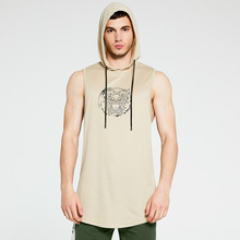 Mens Summer Sweatshirts Loose-Fit Sleeveless Hoodies Medium-length Hooded Muscle Fitness Letter Printted