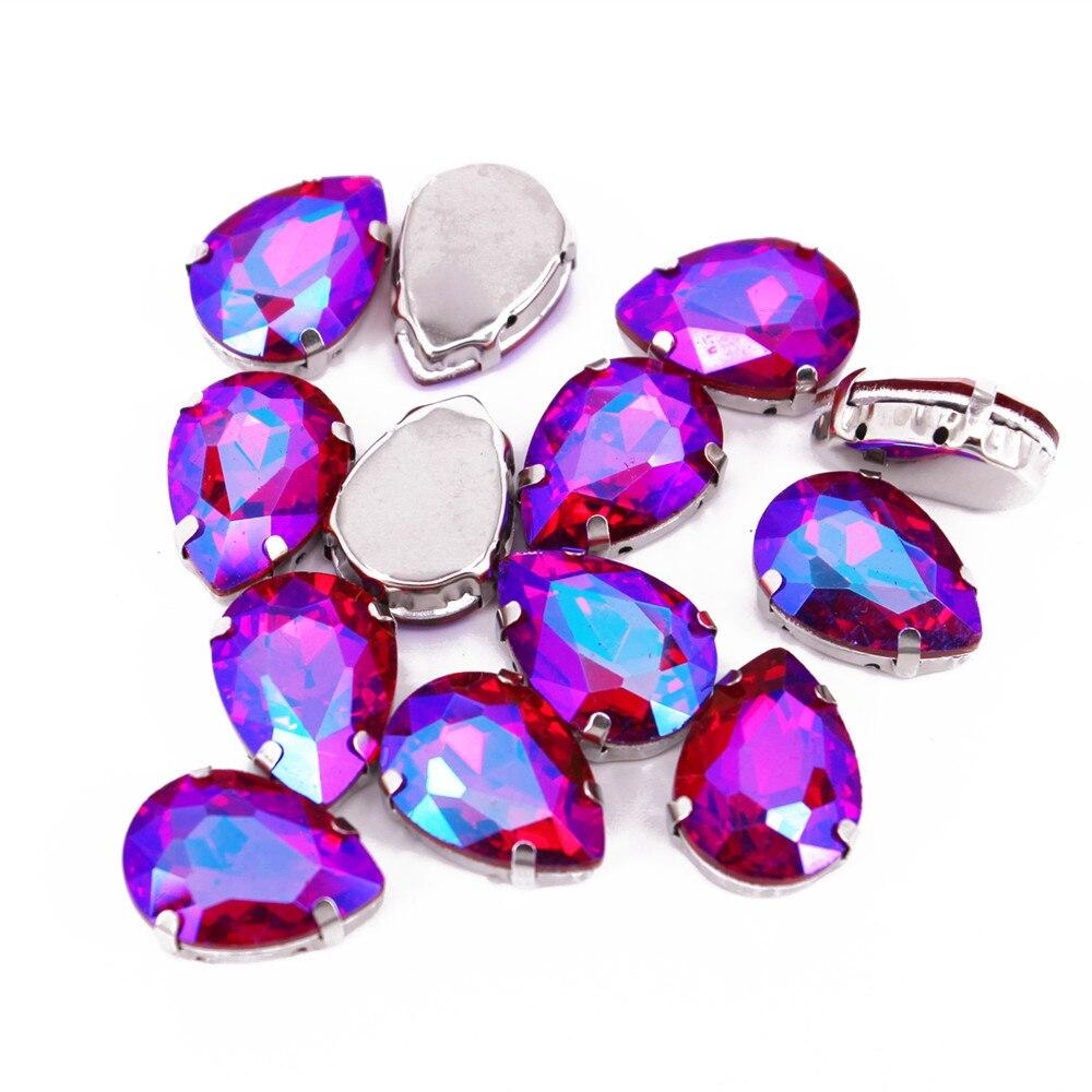 13x18mm 10pcs Sew On Rhinestones Flatback Sew On Claw Rhinestone Colorful Glass Crystal Claw With Single Loop Teardrop For Cloth