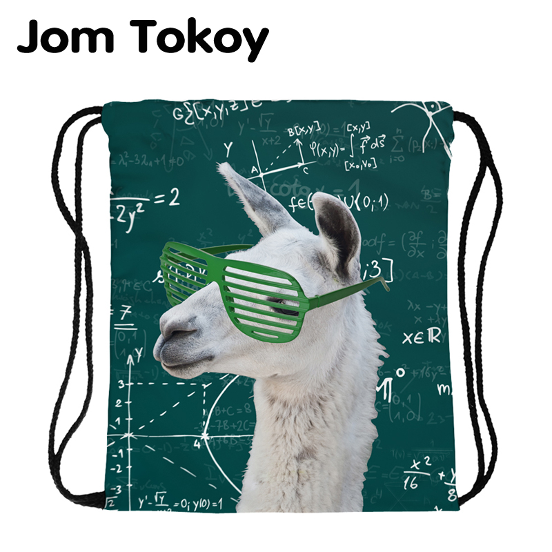 JomTokoy New Fashion  Alpaca Printing Drawstring Bag Sports Waterproof Backpack Bundle Pocket  Men Women
