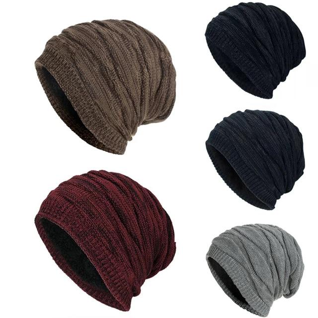 TOHUIYAN Crochet Beanie Hat For Men Slouchy Autumn Winter Hats Fashion Skull Knitted Cap Hip Hop Thick Warm Caps Baggy Women Hat
