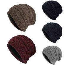 TOHUIYAN 남자를위한 크로 셰 뜨개질 비니 모자 Slouchy 가을 겨울 모자 패션 해골 니트 모자 힙합 두꺼운 따뜻한 모자 헐렁한 여자 모자