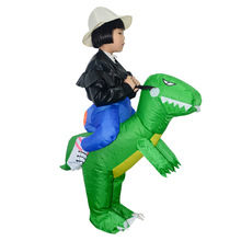 DM COS Halloween Explosion Show Multi-color Inflatable Suit Creative Funny Green Children Riding Dinosaur Clothing
