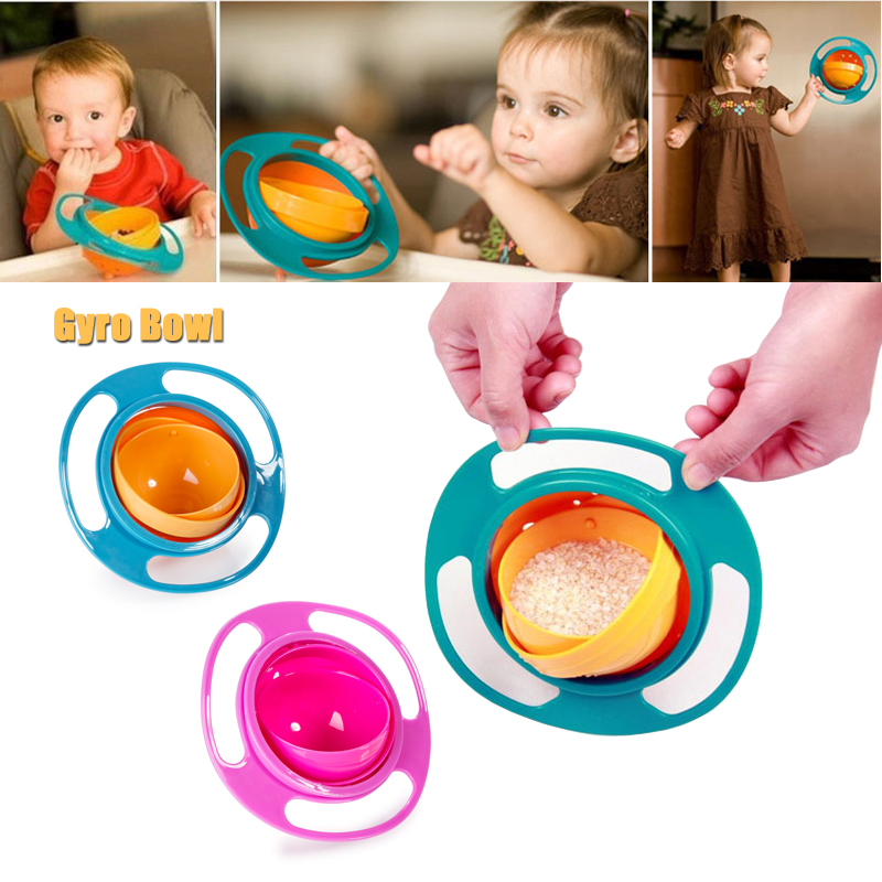 Baby Feeding Dishes Toy Baby Gyro Bowl Universal 360 Rotate Gyro Bowl Practical Design Feeding Spoon Child Tableware Food Bowl