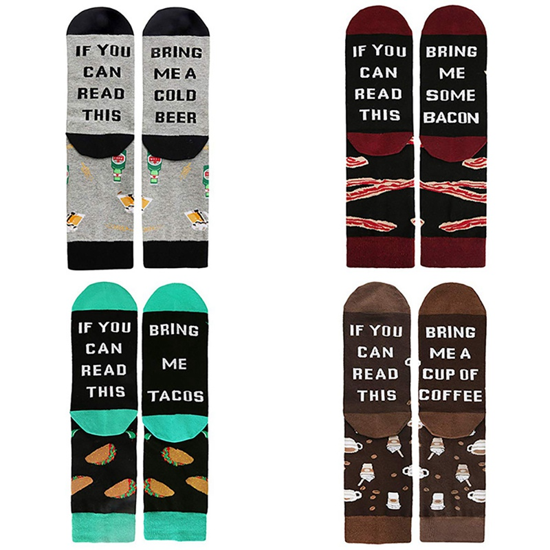 Soft Funny Coffee Taco Beer Wine Crew Casual Socks Adult Letter Printed Cotton Spandex Hosiery Footwear Accessories