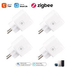 Zigbee tomada inteligente ue 15a função de temporização tomada casa voz remoto tuya vida inteligente controle app com alexa google casa