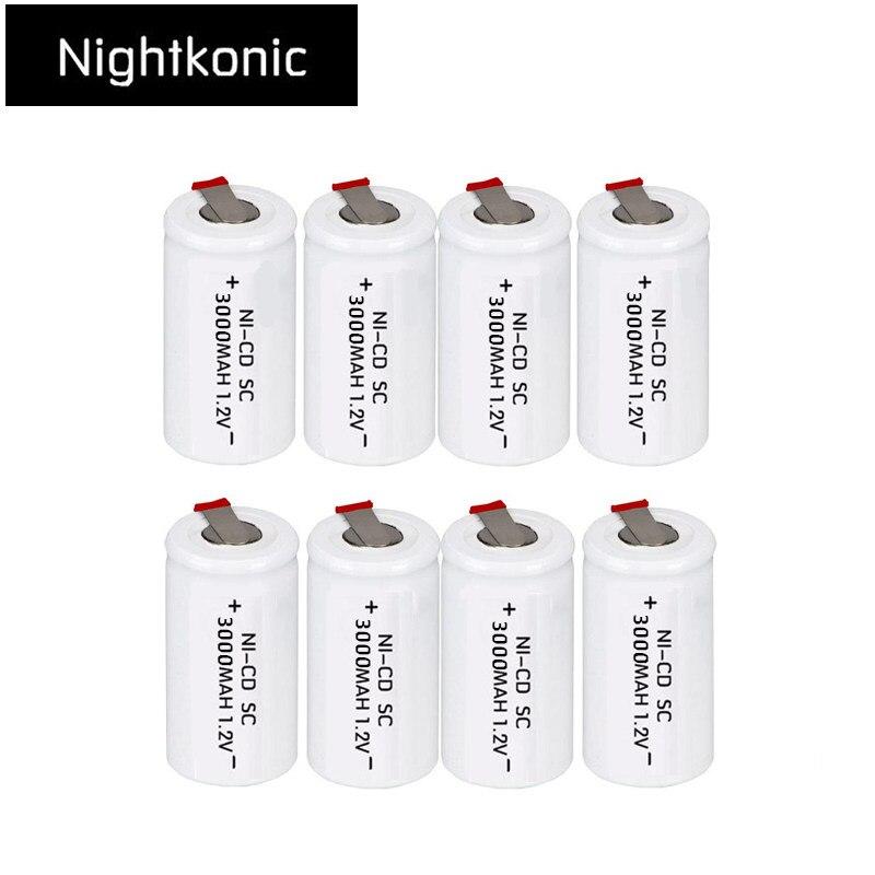 Nightkonic 16 pçs/lote SC 3000mAh bateria recarregável subc 1.2 v substituição bateria com guia