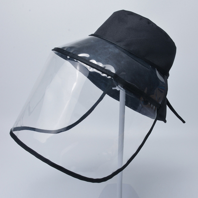 Transparent Adults Unisex Anti-spitting Hat Dustproof Cover Cap Bucket Hat Virus Protection Caps Face Mask For Flu Fisherman Cap 2