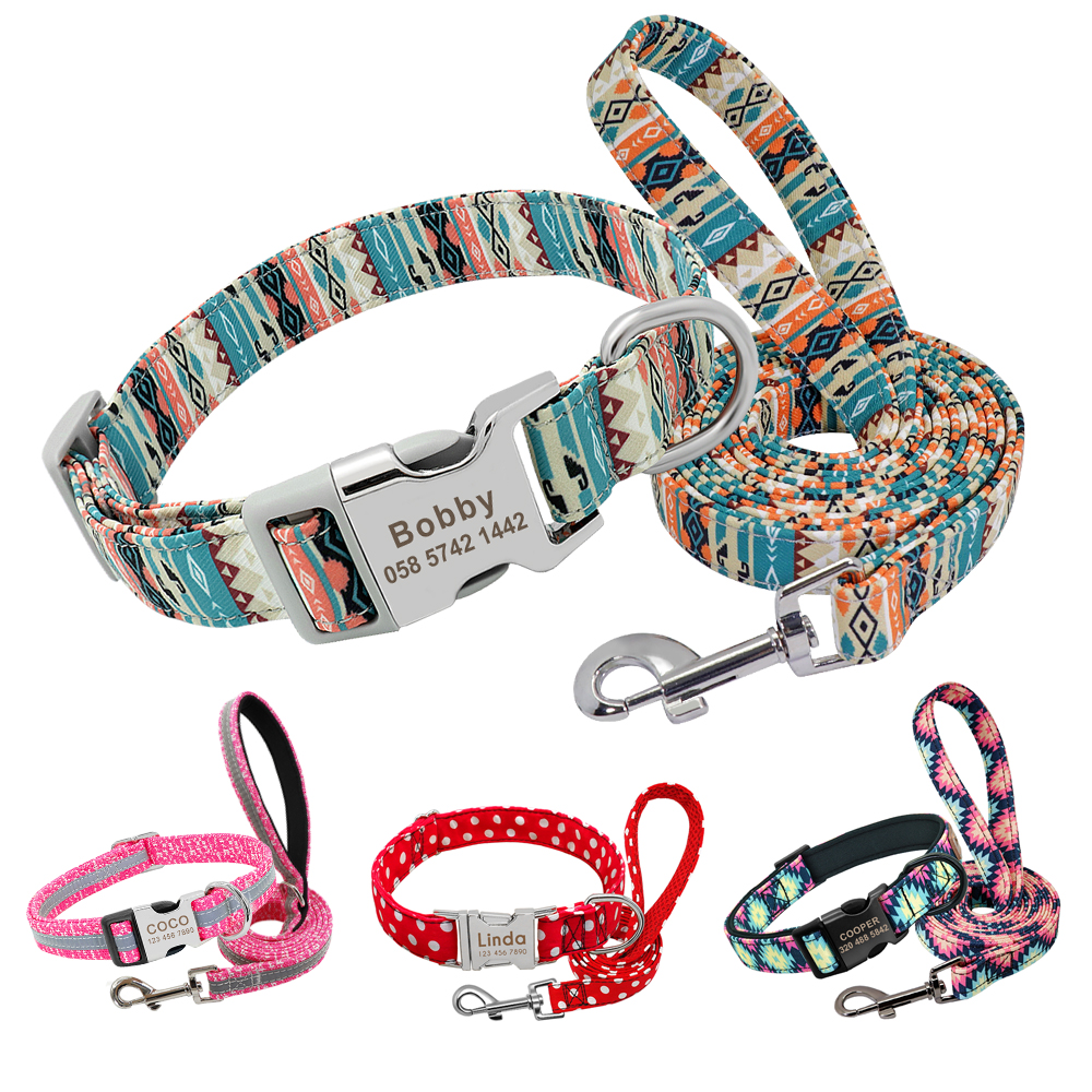 Personalized Dog Collar and Leash Set Reflective Nylon Pet Collars Lead Leash Engraved ID Tag for Small Large Dogs Pitbull