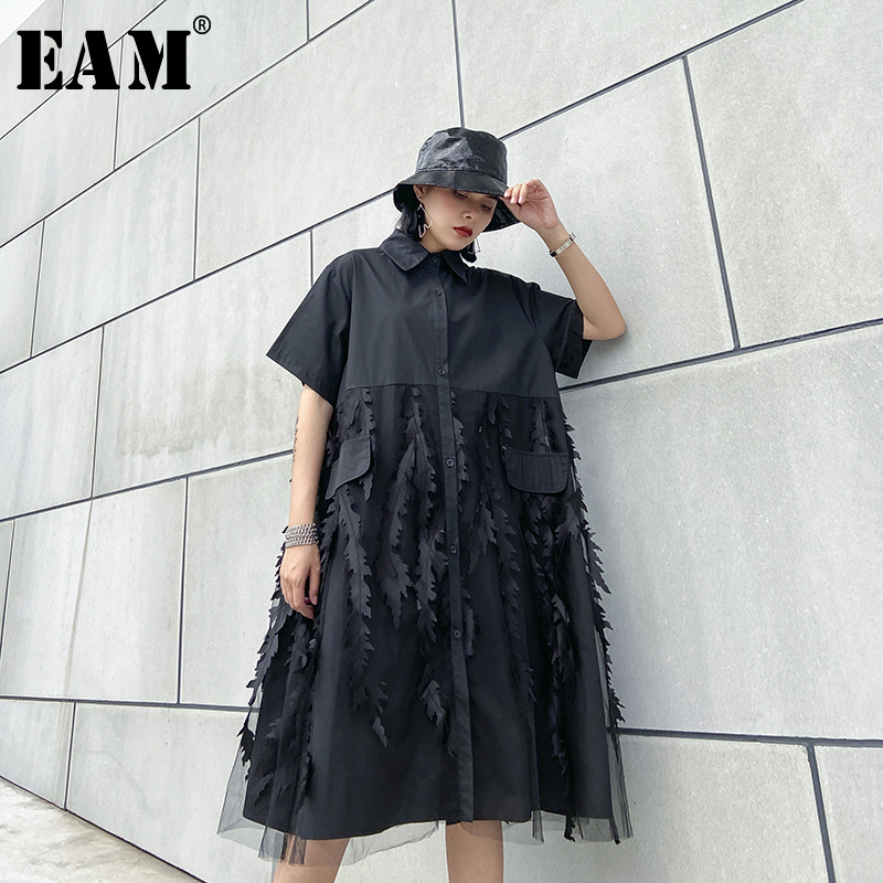 [EAM] Women Black Mesh Split Big Size Shirt Dress New Lapel Short Sleeve Loose Fit Fashion Tide Spring Summer 2020 1U072