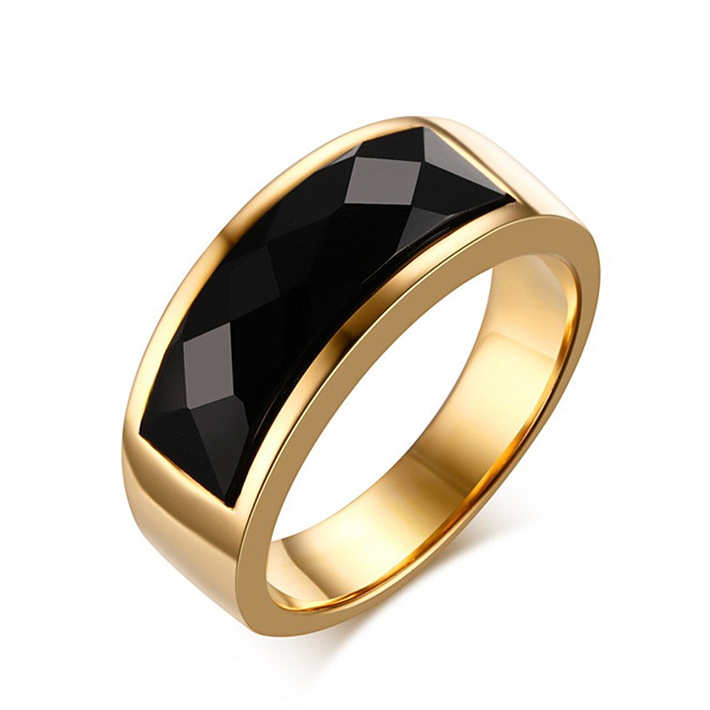 18k gold color black agate gemstones rings for men titanium stainless steel jewelry bijoux bague fashion cool accessories gifts