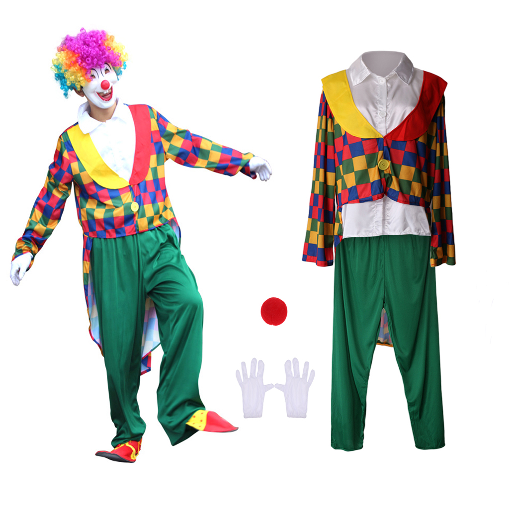 Funny Colors Comedy Clown Hair Wig Halloween Stage Unisex Fancy Dress Adult Kids