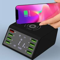 60W QC 3.0 Quick Charge 8 USB Ports Charging Dock Station Qi Wireless Fast Charger with Voltage Current Display for iphone sams|Mobile Phone Chargers| |  -