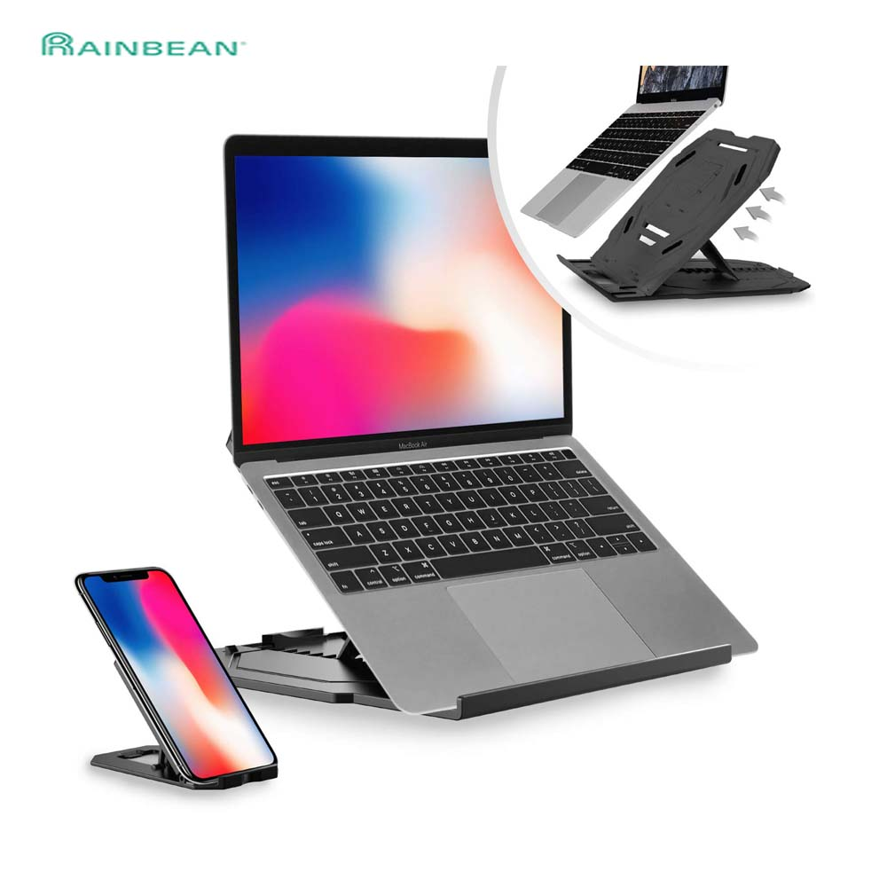 Rotating Laptop Stand Flexible Multi-Angle Adjustment PC Bracket/Holder With Turntable Attach Phone Bracket Hollow Design