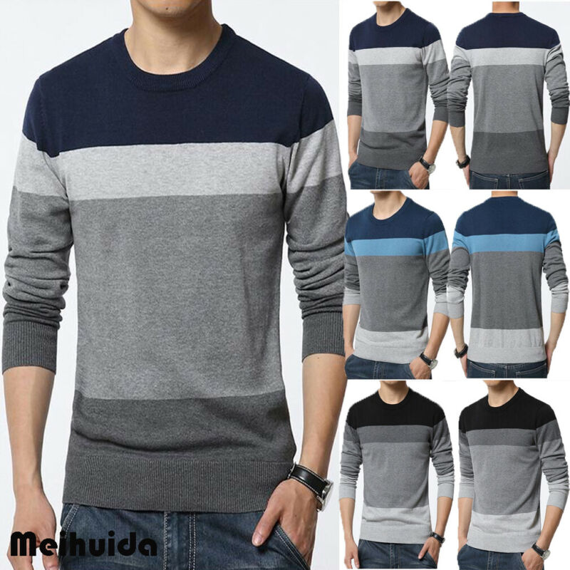 2019 Men's Casual Round Neck Long Sleeve Fashion Knit Sweater Pullover Knitwear Jumper Coat Top