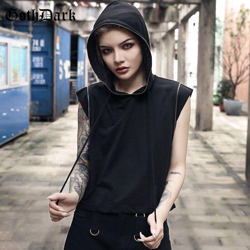 Goth Dark Grunge Gothic Women Sweatshirt Harajuku Aesthetic Punk Fall 2019 Female Hoodies Sleeveless Fashion Strap Patchwork