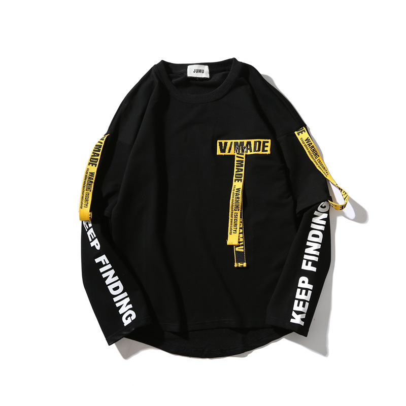 Yellow and Red Ribbons Tag Hoodies Sweatshirts Boy Men's Top Pullover Casual Hip Hop Sport for Men Letter Off Male White Black