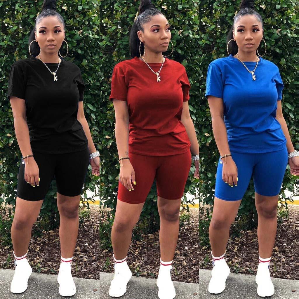Two piece set o-neck crop top shorts 2 piece set for women' suit