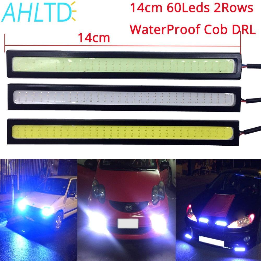 1pcs Car Led 14cm Double Row 60Leds COB  Auto DRL Driving Daytime Running Lamp Fog Light  DIY Ultra Bright Waterproof White Blue