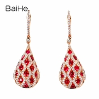 BAIHE Solid 14K Rose Gold 1ct Flawless Natural Rubis Earrings Wedding Trendy Fine Jewelry water droplets Stud Earrings for Women