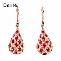 BAIHE Solid 14K Rose Gold(AU585) 1ct Flawless 100% Genuine Natural Rubis Wedding Trendy Fine Jewelry Elegant Gift Stud Earrings