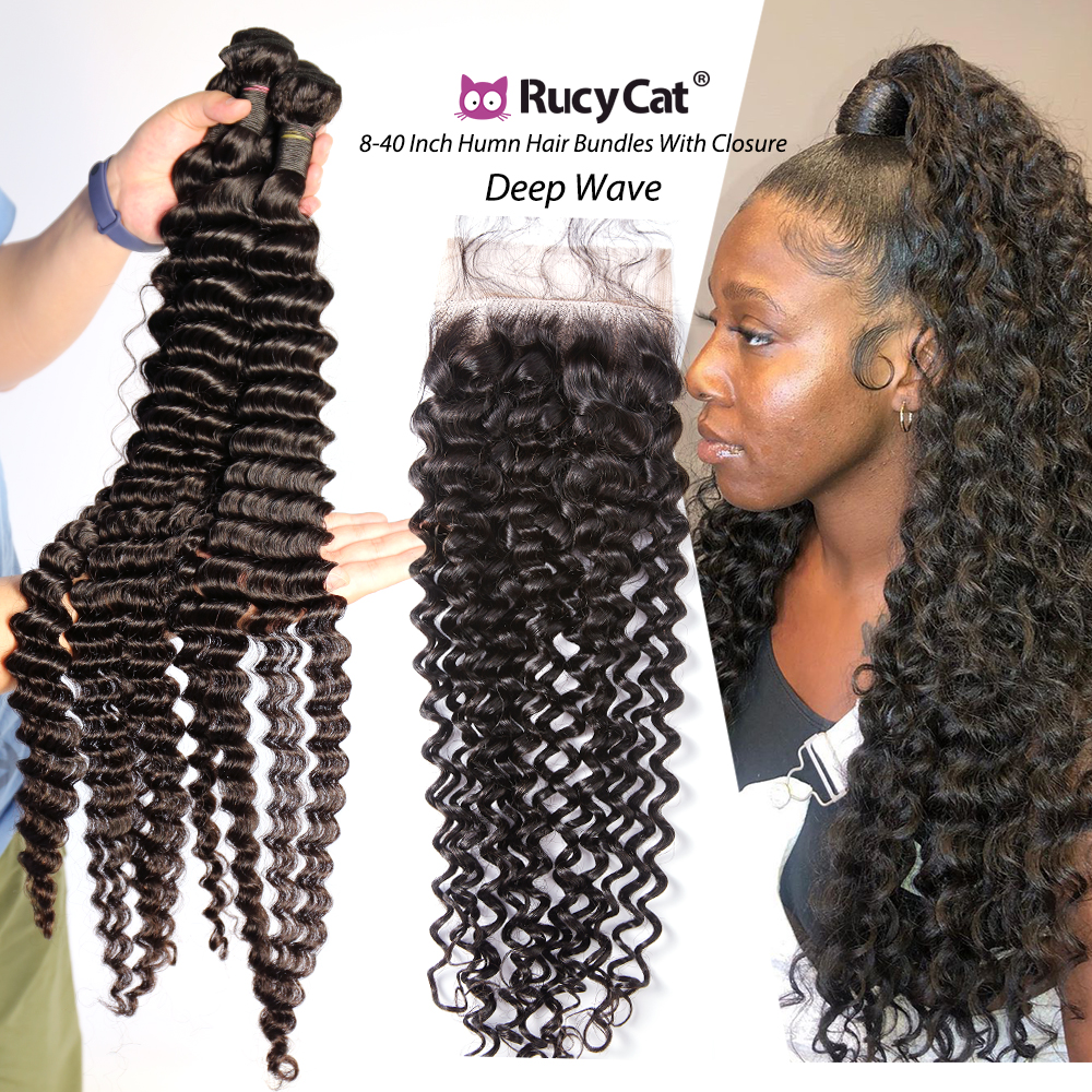 Rucycat brasileiro feixes de onda profunda do cabelo humano com fechamento 30 32 34 36 Polegada remy cabelo humano 3/4 pacotes tecer com fechamento do laço