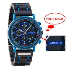 Bobo bird relógio de pulso, nome personalizado logotipo personalizado de madeira homens top marca de luxo cronógrafo militar relógios montre homme dropshipping
