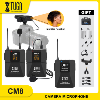 XTUGA Wireless Lavalier Microphone with Audio Monitor Function Camera Mic UHF Wireless Lapel Mic for Smartphones DSLR Cameras xtuga uhf wireless lavalier lapel microphone system live recording mic with rechargeable transmitter