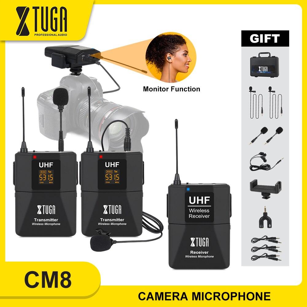XTUGA-micrófono Lavalier inalámbrico con función de Monitor de Audio, cámara, micrófono UHF, micrófono de solapa inalámbrico para Smartphones, cámaras DSLR