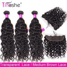 Tinashe pelo extensiones con ondas al agua con Frontal de cabello humano peruano 3 paquetes con cierre Hd transparente Frontal de encaje con paquetes