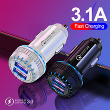 36w fast pd3 0 2 usb ports universal intelligent charging dual usb car charger for iphone samsung mobile android phone 18W 3.1A Dual USB Car Charger Quick Charge 3.0 Universal Fast Charging Mobile Phone Car-Charger for iPhone Xiaomi Samsung Huawei