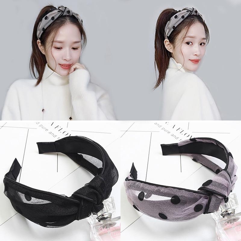 New Fashion Solid Color Wild Dots Knotted Mesh Headband Headband Women Girls Hair Accessories Headdress