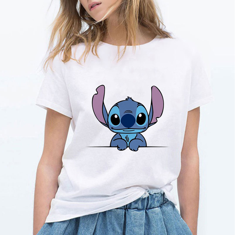 Tee Shirt Femme Harajuku Gothic Print Kawaii Cartoon Stitch Funny T Shirt Women Chemise Shein Graphic Tee Women Clothes