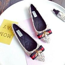 Zapatos De Mujer Zapatos Frauen Schuhe Femmes Chaussures Strass Bee Wies Wohnungen Schuhe für Frauen 2020 Zapatillas Mujer