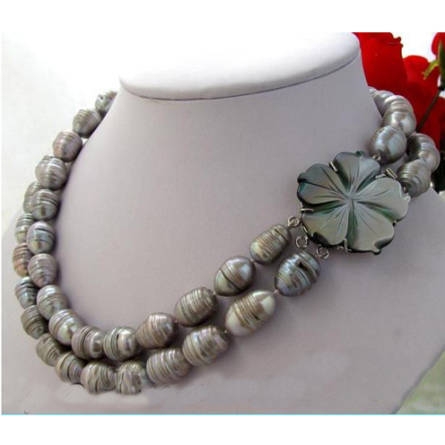 Unique Pearls jewellery Store 2row Rice Baroque Gray Freshwater Cultured Pearl Necklace Shell Flower Clasp Fine Jewelry Women Gi