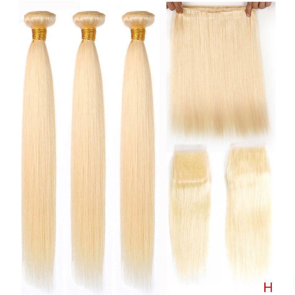 613 Blonde Bundles With Closure Brazilian Straight Hair Remy Human Hair Weave Bundles 613 Honey Blonde Bundles With Closure