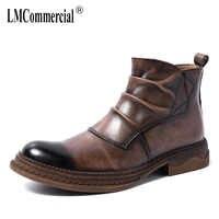 Jesień zima oryginalne skórzane buty Chelsea mężczyzna brytyjski kowbojskie buty na wysokim obcasie męskie ze stali toe buty retro męskie buty ze skóry wołowej