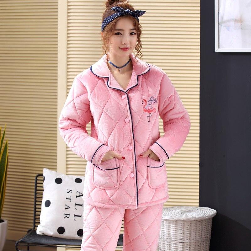 2019 Winter Paare Dicke Warme Baumwolle Pyjamas Sets für Frauen Langarm Strickjacke Nachtwäsche Pyjamas Männer Lounge Homewear Kleidung - 4