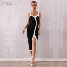 Adyce 2019 New Summer Woman Bandage Dress Sexy Spaghetti Strap V Neck Club Celebrity Bodycon Evening Party Vestidos