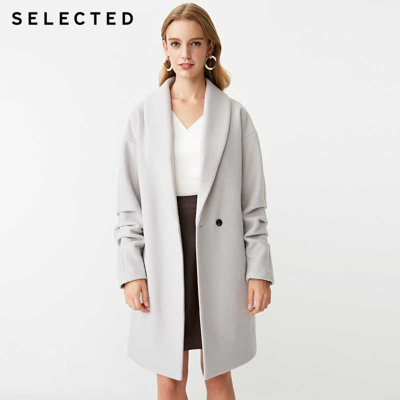 SELECTED New women's trendy solid color warm long wool coat coat S |418427507