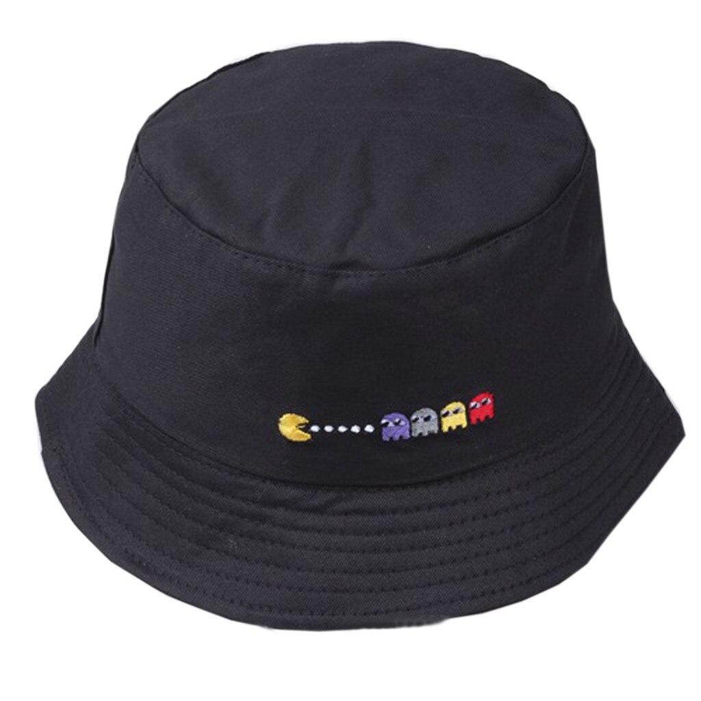 2019 Fashion Bucket Hat Women Men New Design Cute Embroidery Couple Cotton Fishing Hat Sun Flat Top Travel Fisherman Hats Caps