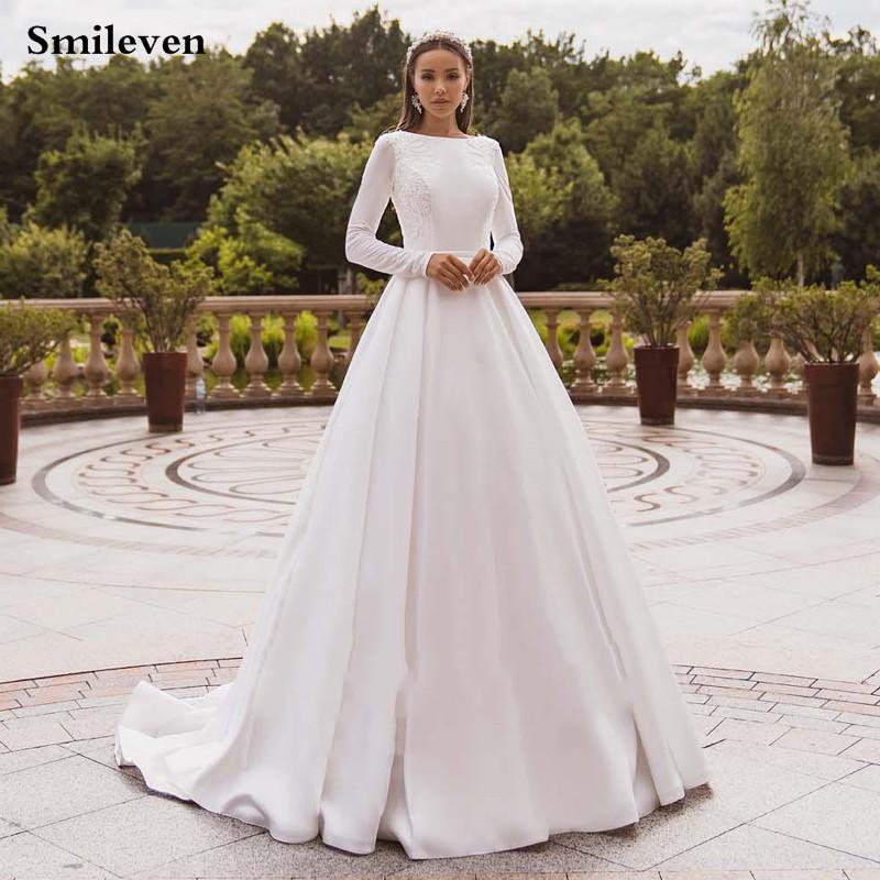 Smileven Elegant Satin Wedding Dresses Long Sleeve Lace Bride Gown Muslim Wedding Gown Covered Back Vestido de novia 2020