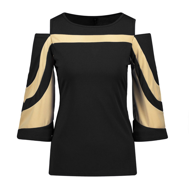 Blouse Woman Patchwork Three Quartery Sleeve O-Neck Tops Ladies Pullover Tops Blouse Shirt Casual Female Blouses Tunic #LR2