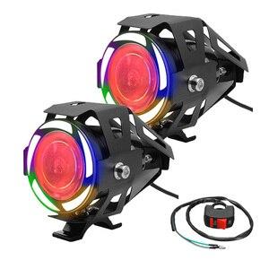 Moto levou Farol Holofotes À Prova D' Água Intermitente com Colorido Anjo Diabo olho levou lâmpadas de luzes de nevoeiro Da Motocicleta Moto scooter