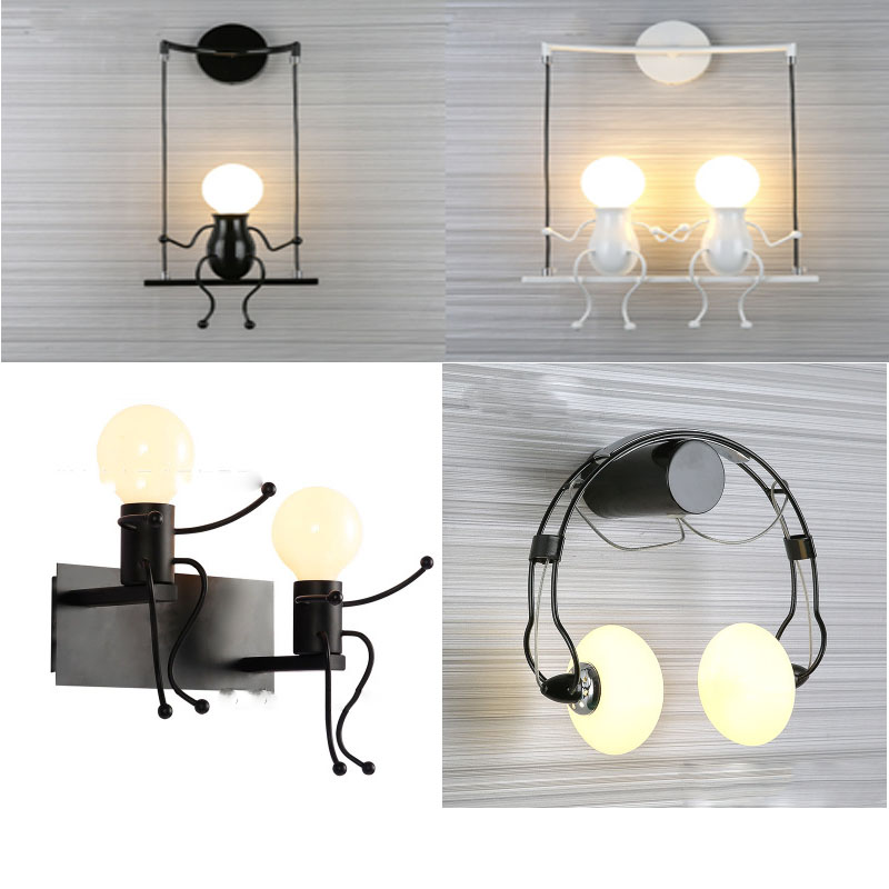 Machine Villain Wall Lamp Modern Minimalist Creative Bedroom Bedside Wall Lamp Aisle Corridor Wrought Iron Wall Hanging Lamp