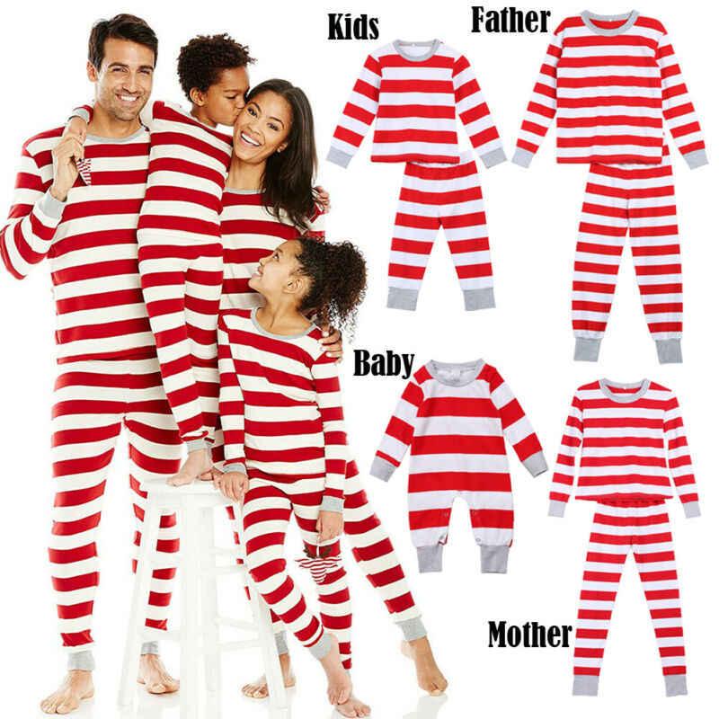 Familie Wedstrijd Kid Moeder Vader Kerst Pyjama PJs Set Xmas Nachtkleding Nachtkleding Gift Lange Sleevel Rood Gestreept Nieuwe Jaar Kleding sets